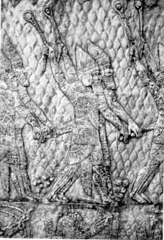 Esarhaddon - Assyrian Warriors with Slings Engraving